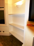 high gloss MDF shelves
